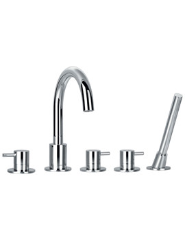 Levo 5 Hole Bath-Shower Mixer Tap With Handset And Hose