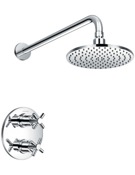 Flova XL Thermostatic Shower Mixer With Shut Off Valve-Shower Head And Arm