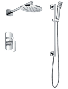 Flova Dekka Manual Valve With Diverter-Wall Shower Head And Slide Rail Set