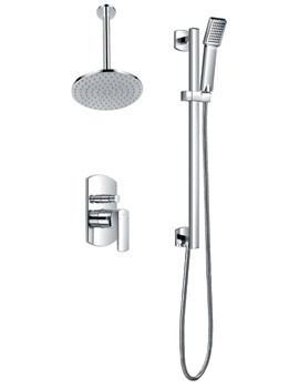 Flova Dekka Manual Valve With Diverter- Ceiling Shower Head And Slide Rail
