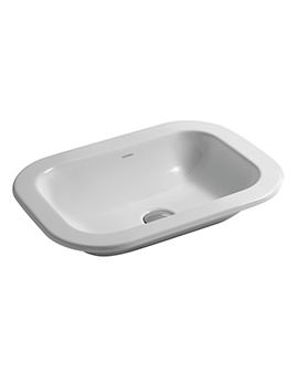 Glaze No Tap Hole Inset Countertop Washbasin 500 x 400mm White