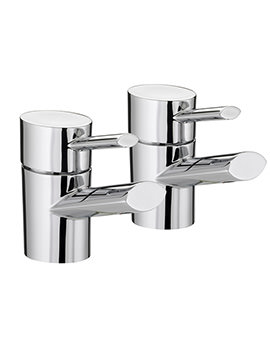 Oval Chrome Basin Taps Pair - OL 1-2 C