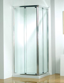 Original 760mm Silver Corner Slider Shower Door - 3CS76S