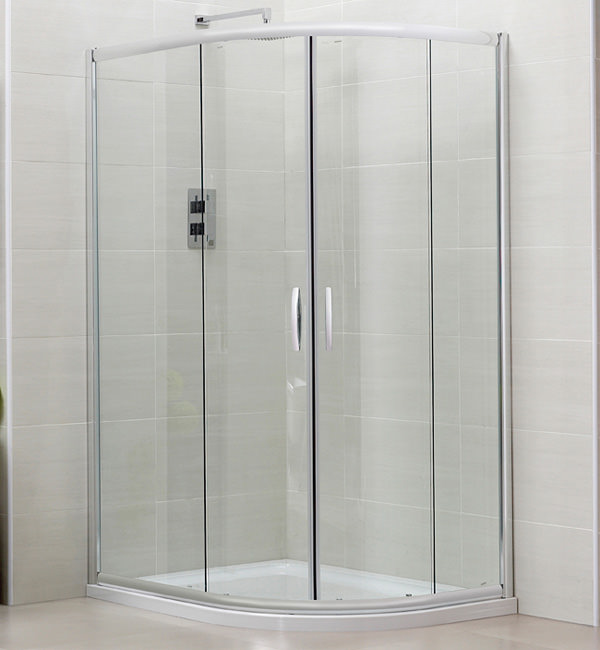 Large Image of April Identiti2 Double Door Offset Shower Quadrant 1000 x 800mm Silver