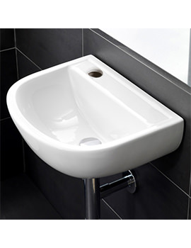 Compact Special Needs 380mm 1 Left Hand Taphole Wall Hung Basin