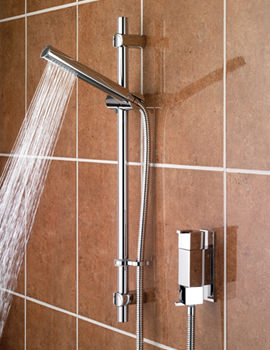 Qube Vertical Thermostatic Shower Valve With Adjustable Riser