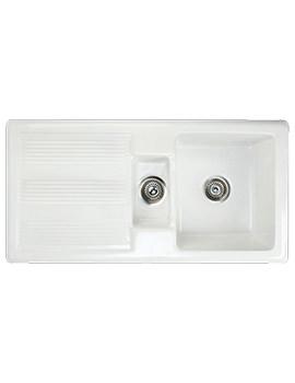RAK New Gourmet 1 - 1.5 Bowl Fireclay Inset Kitchen Sink