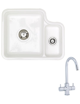 Lincoln 1.5 Bowl Ceramic White Undermount Sink And Tap Pack