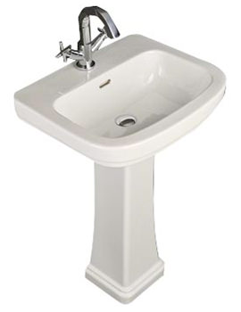 Decor 1 Tap Hole Basin With Full Pedestal 550mm - DEC55BAS1