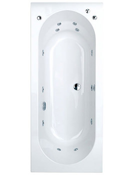 Beta Rectangular Double Ended Whirlpool Bath 1600 x 750mm System 1