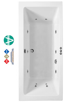 Phoenix Amanzonite Rectangularo 1 Double Ended Whirlpool Bath 1700 x 700mm