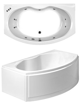 Corsica Bow Fronted Corner Whirlpool Bath 1700x970mm System 1