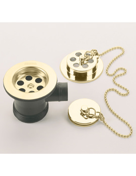 Bristan Economy Gold Bath Waste With Brass Plug - Unslotted - W BTH3 G