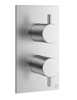 Crosswater Mike Pro Brushed Chrome Double Outlet Thermostatic Shower Valve