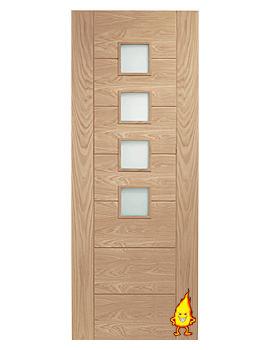 Related XL Internal Palermo Oak Fire Door With Obscure Glass - GOPAL30-FD