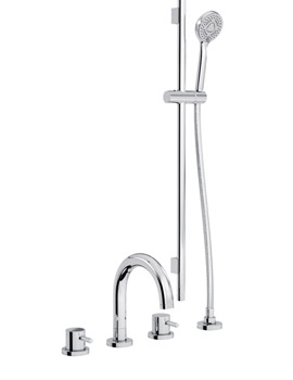 Harmonie Thermostatic 4TH Bath Mixer Tap And Slide Rail Kit