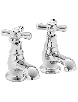 Heritage Ryde Pair Of Bath Pillar Taps Chrome - TRHC01