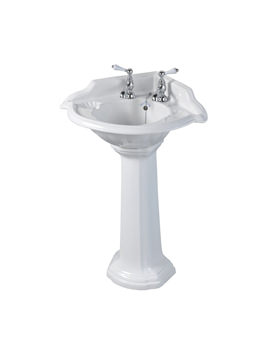 Oxford 2 Tap Holes 615mm Corner Basin With Full Pedestal