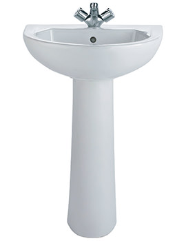 Option 1 Tap Hole Washbasin With Pedestal 550 x 450mm