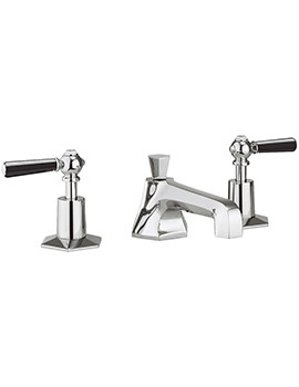 Crosswater Waldorf Black Lever 3 Hole Deck Mounted Basin Mixer Tap Set