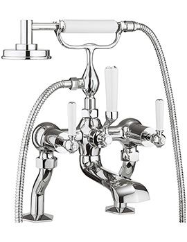 Crosswater Waldorf White Lever Deck Mounted Bath Shower Mixer Tap With Kit