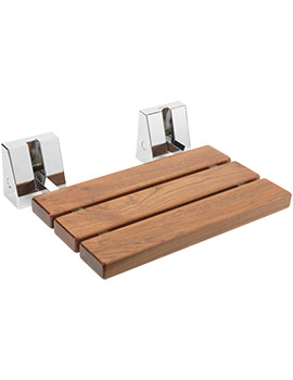 Sagittarius Wall Mounted Pull Down Wood And Chrome Shower Seat