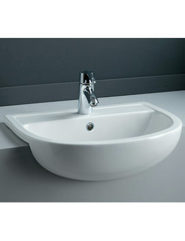Compact 1 Tap Hole Semi Recessed Basin 550mm - COMSRBAS1