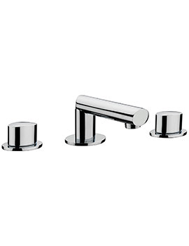 Oveta 3 Hole Deck Mounted Basin Mixer Tap With Sprung Waste