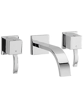 Arke 3 Hole Wall Mounted Basin Mixer Tap