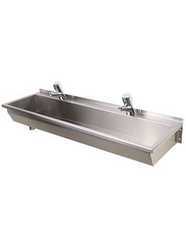 SS 1200 x 370mm 2 Person Stainless Steel Wash Trough