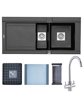 Astracast Geo 1.5 Bowl Composite ROK Metallic Inset Sink And Tap Pack
