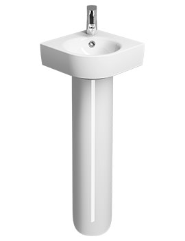 E200 320 x 320mm 1 TH Corner Handrinse Basin With Full Pedestal