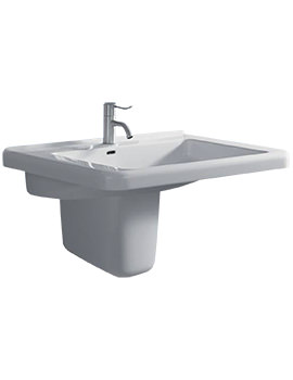 All 600 x 550mm 1 Tap Hole Washbasin With Semi Pedestal