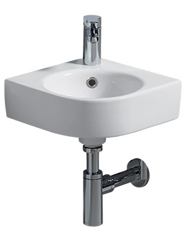E200 320 x 320mm 1 Tap Hole Corner Handrinse Basin