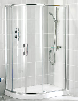 Showerlux Glide Twin Slider Door Offset Round Enclosure 900 x 800mm
