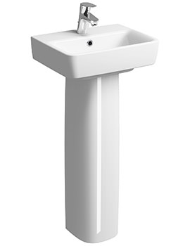 Twyford E200 450 x 340mm 1 Tap Hole Handrinse Basin With Full Pedestal