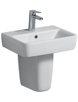 E200 450 x 340mm 1 Tap Hole Handrinse Basin With Semi Pedestal
