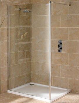 Showerlux Urban Chic 700mm Flat Wetroom Panel With Wall Support