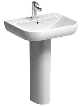 Twyford E500 Round 550 x 480mm 1 Tap Hole Washbasin With Full Pedestal