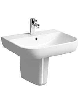 E500 Round 600 x 480mm 1 Tap Hole Washbasin - E54321WH