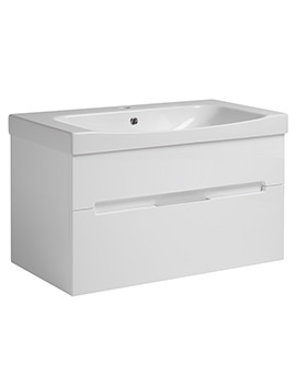 Diverge Gloss White 800 x 450mm Wall Mounted Vanity Unit