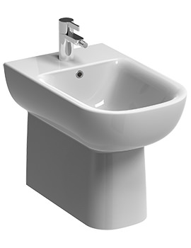 Twyford E500 Round 1 Tap Hole Floorstanding Back-To-Wall Bidet 540mm
