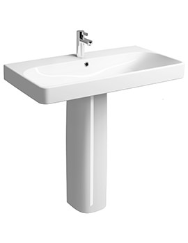 E500 Square 900 x 480mm 1 Tap Hole Washbasin With Full Pedestal