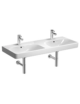 Twyford E500 Square 1200 x 480mm 2 Tap Hole Double Bowl Washbasin