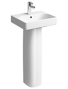 E500 Square 450 x 360mm 1 TH Handrinse Basin With Full Pedestal