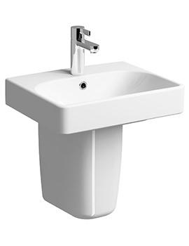 E500 Square 450 x 360mm 1 TH Handrinse Basin With Semi Pedestal