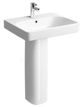 E500 Square 750 x 480mm 1 Tap Hole Washbasin With Full Pedestal
