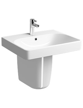 Twyford E500 Square 600 x 480mm 1 Tap Hole With Semi Pedestal