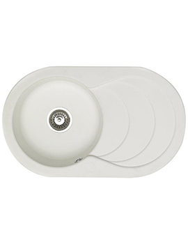 Cascade 1.0 Bowl Composite Quartz White Inset Sink