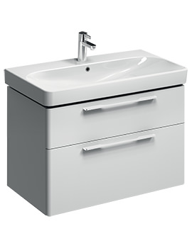 E500 Square 868mm White 2 Drawers Unit And 900mm 1 Centre TH Basin